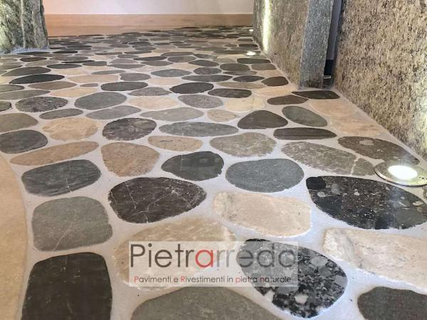 pavimento ciottoli sassi segati di fiume piatti doccia bagno offerta pietrarredo