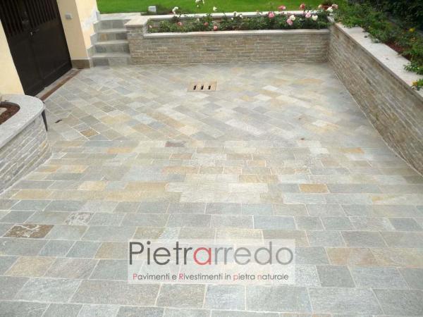 pavimento esterno in pietra luserna lati segati squadrato prezzo costi pietrarredo milano