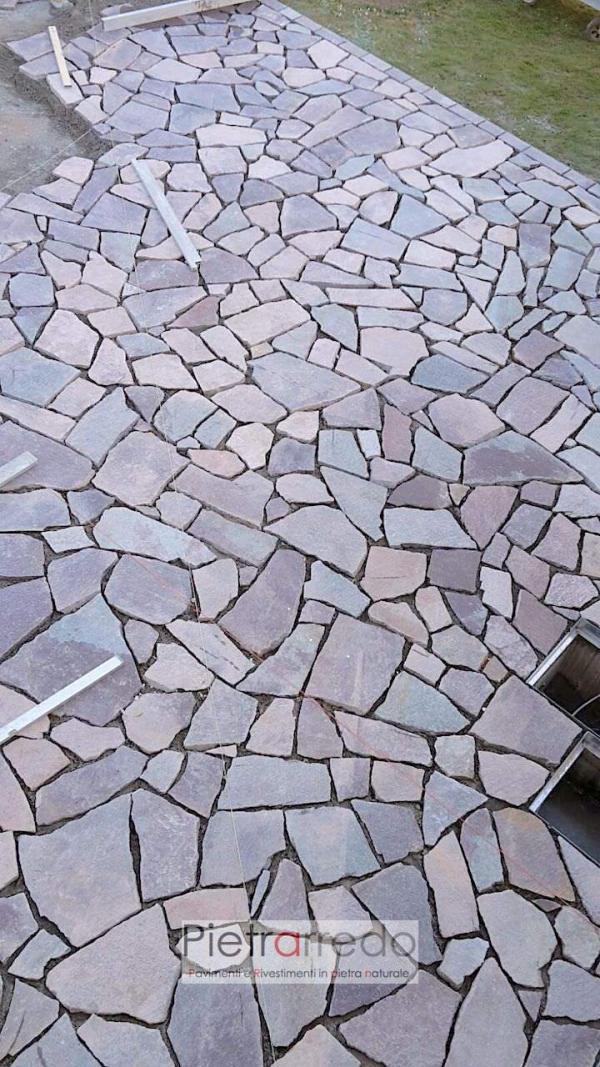 pavimento in pietra sasso offerta porfido beola viola rosso trentino costo prezzo palladiana lastrame