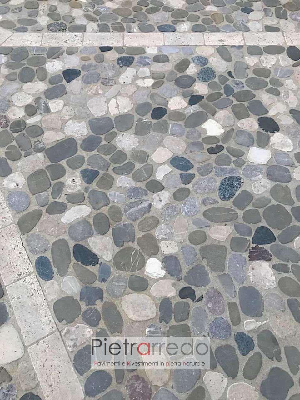 pavimento in sasso ciottolo ticino segato poco spessore ciottoli sassolini fiume pietrarredo milano prezzo rizzata