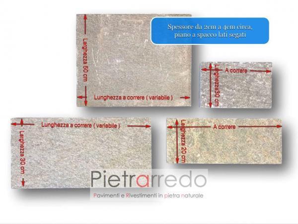 pavimento lati segati pietra luserna a correre piano naturale prezzo costo