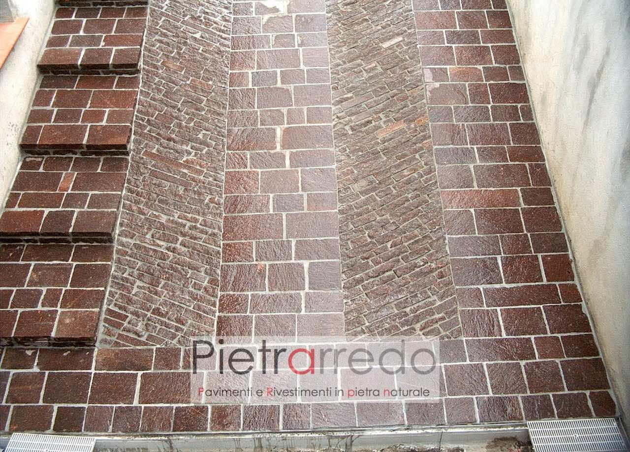Pavimento in pietra naturale Piastrelle in PORFIDO coste a spacco ...