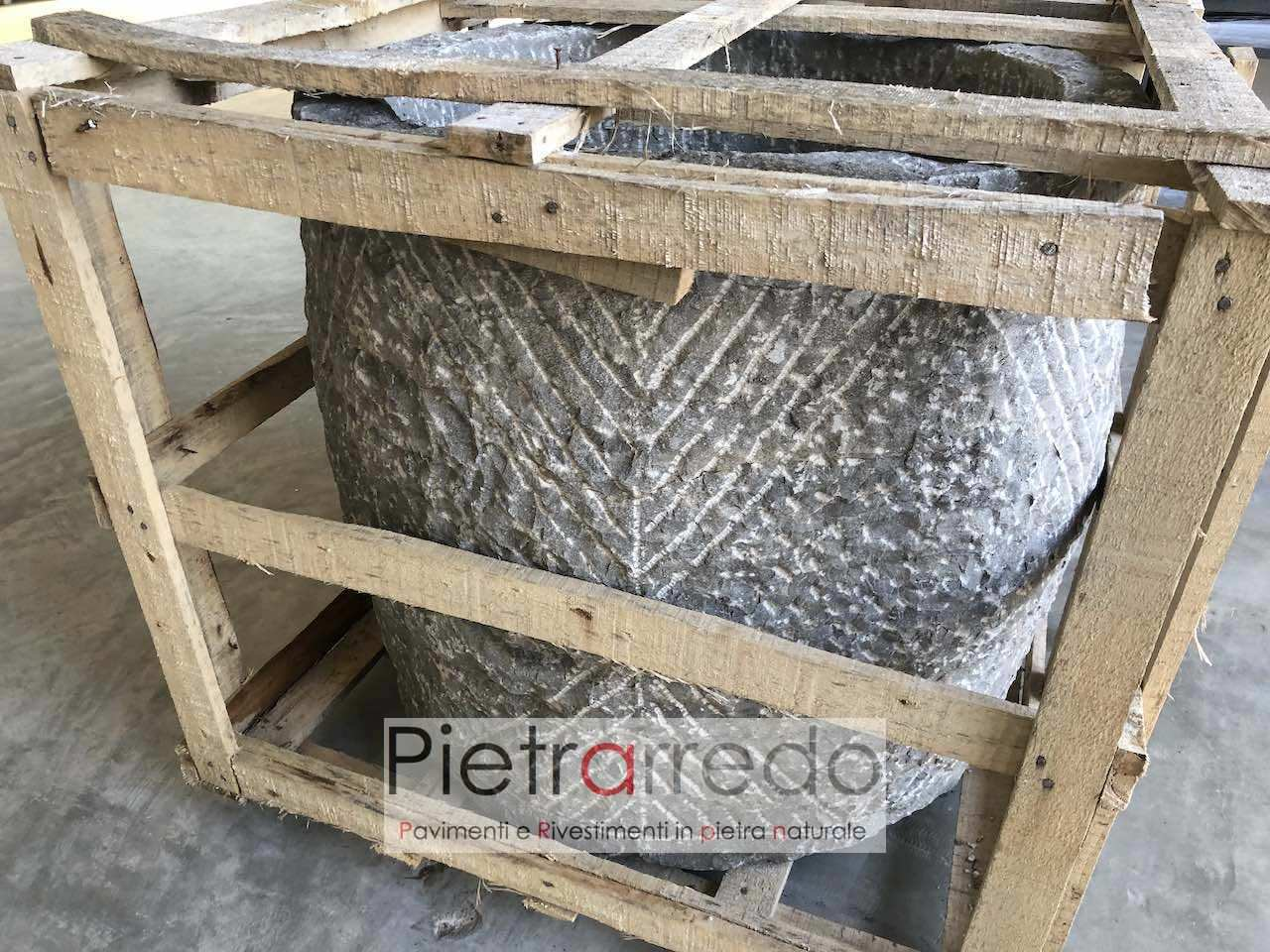 Vasca-pozzo in pietra fatta a mano, sasso naturale per arredo giardino