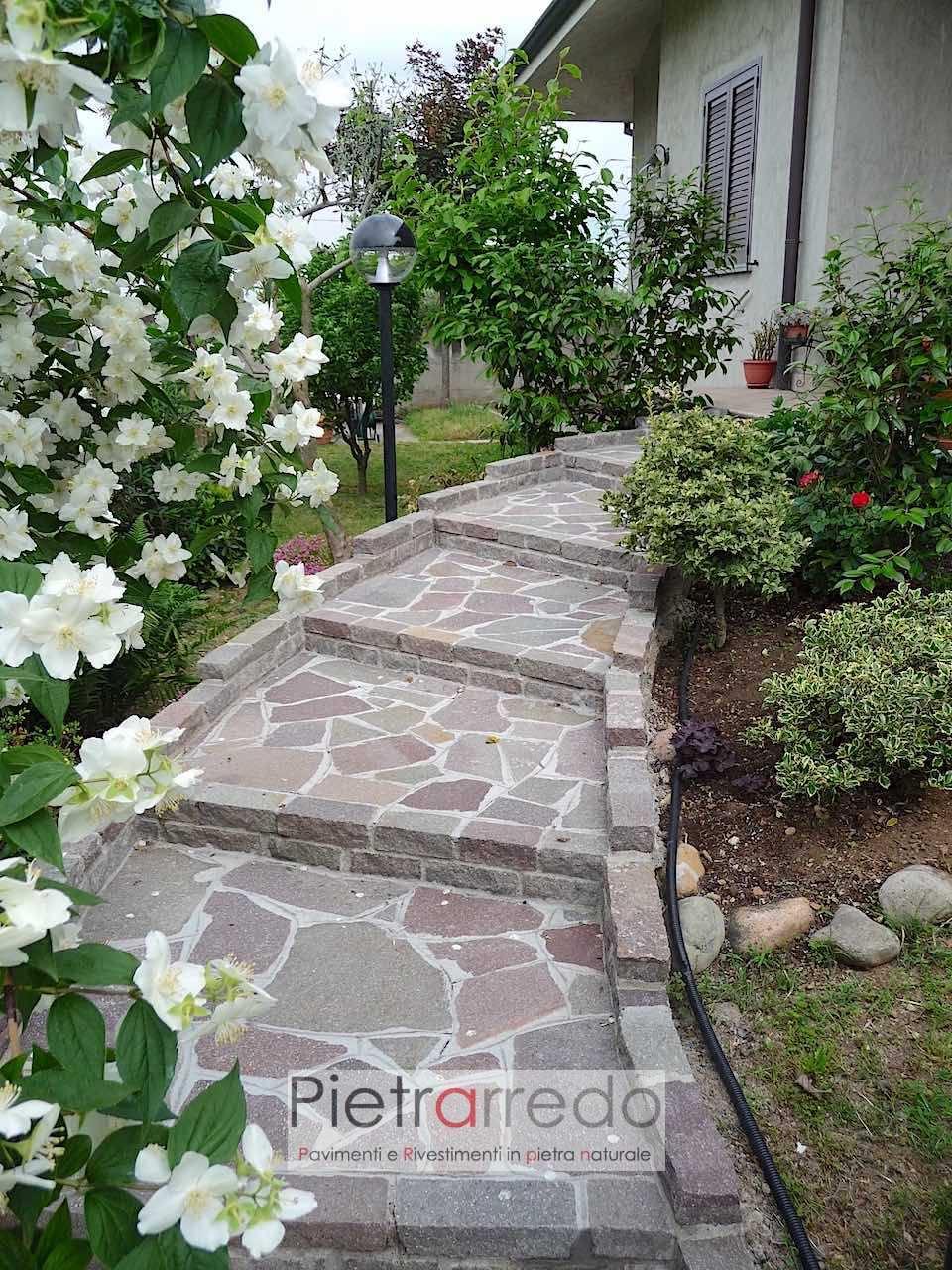 scala eseguita in porfido posa pietra pavimento binderi masselli opera incerta mosaico prezzo