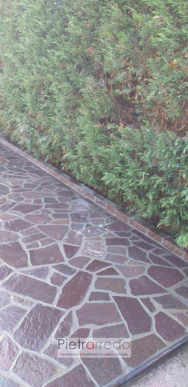 selciato esterno pavimento in pietra per esterno resistente antigelo bello porfido viola marrone prezzo costi pietrarredo milano italy