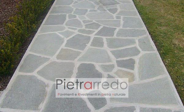 viale marciapiede pavimento pietra luserna mosaico prezzo costi