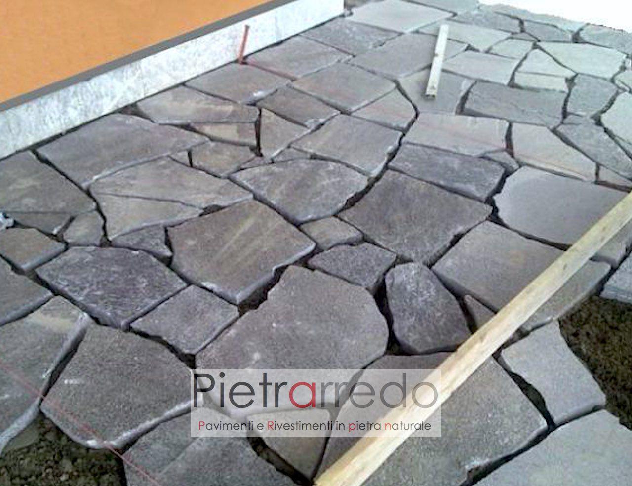 """Posa Pavimento A Secco Giardino pavimento in pietra naturale """"beola grigia lastrame-mosaico-opera incerta"""""""