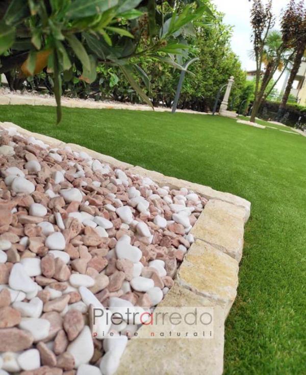 bordure e ciottolo bianco thasos verona stona garden aiuole giardini pietrarredo costo