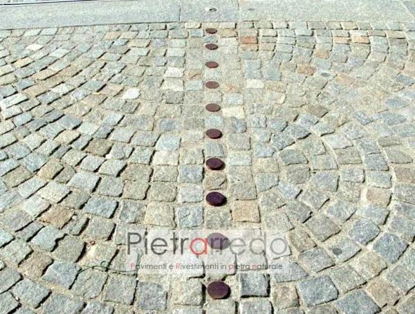 marciapiede e piazza eseguita con pietra òuserna cubetti archi contrastanti prezzo costi offerte pietrarredo milano