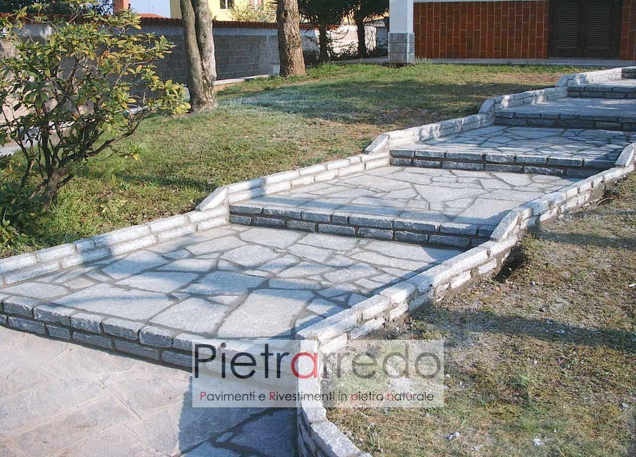 """Ingresso Casa Esterno In Pietra pavimento-rivestimento in pietra naturale """"luserna sottile mosaico,  lastrame, opus incertum, spessore 1-2cm"""""""