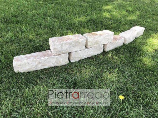 mattoncini in pietra bloccheti di trani per aiuole prezzo pietrarredo milano