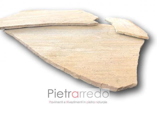 offerta pavimento in pietra quarzite brasiliana gialla pezzame lastrame mosaico costi prezzi offerte stock online