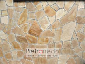 parete e pavimento in quarzite gialla brosiliana brasile prezzo mq costi pietrarredo milano lastrame opus