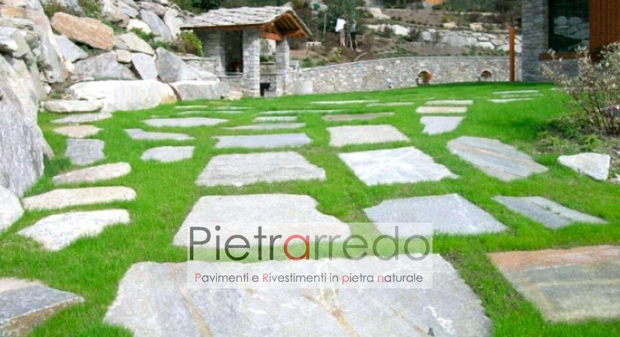 """Posa Pavimento A Secco Giardino pavimento in pietra naturale """"pietre, lastre giganti da giardino """""""
