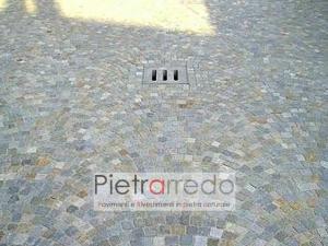 pavimenti in petra e sasso da esterno per piazze e marciapiedi prezzo costi mq cubetti grigi milano pietrarredo