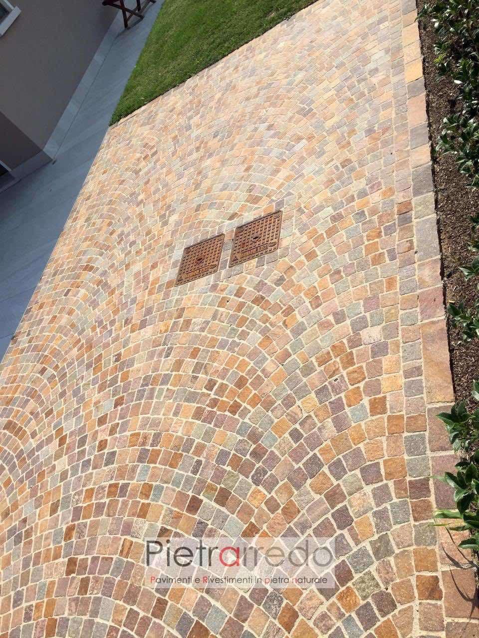 pavimento cubetti san pietrini porfido viola rosso misto trantino prezzi pietrarredo milano costo offerta selciato carrabile