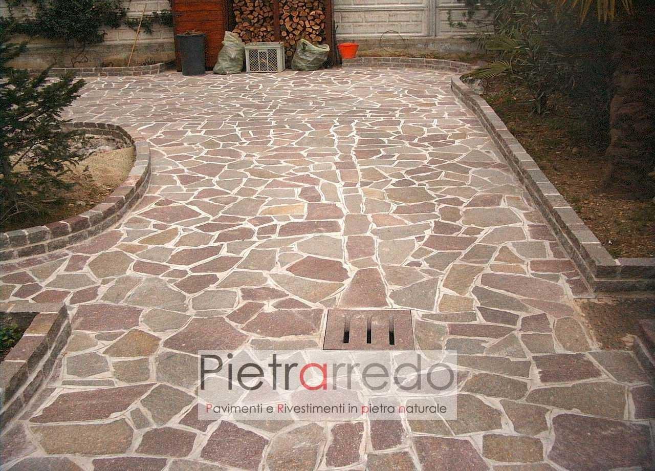Pavimento Alla Palladiana.Pavimento In Pietra Naturale Porfido Mosaico Colore Misto Spessore 3 5 Cm Prima Scelta