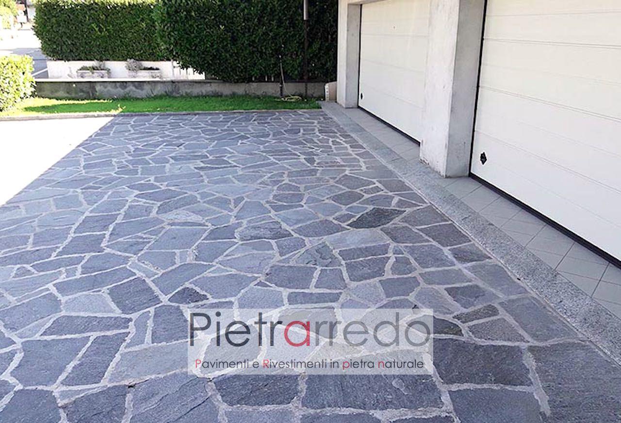 Pavimento Esterno Grigio : Pavimento in pietra naturale beola grigia lastrame mosaico opera