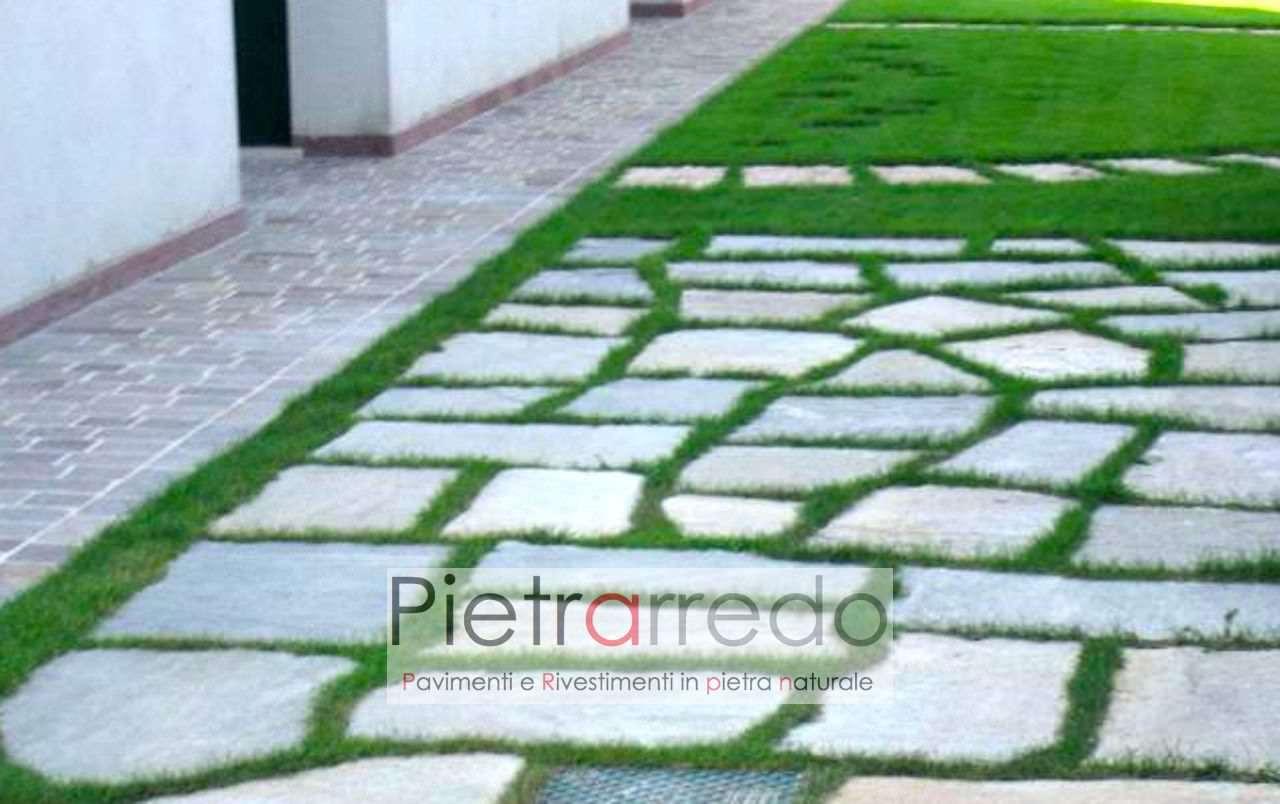 pietre per camminamenti giardini luserna gigante prezzo costi viali prato sassi giganti costo pietrarredo milano