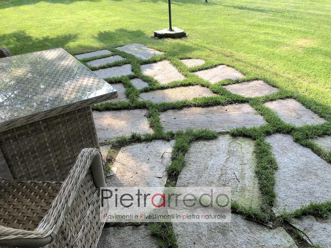 prezzo pavimento in mezzo al giardino erba passi giapponesi lastre in pietra luserna beola prezzo pietrarredo milano