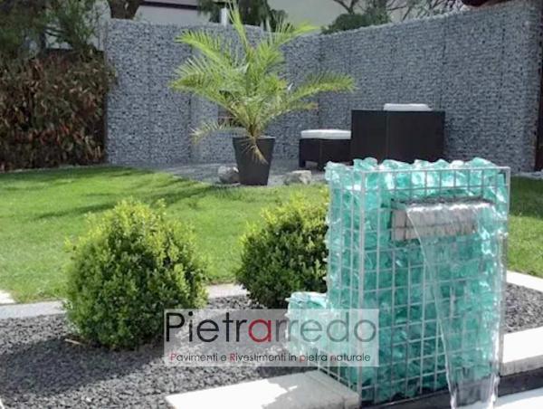 bella fontana con gabbione vetro decorativo blu turchese divisori con ciottolo ticino prezzo costi pietrarredo milano