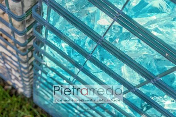 gabbione per creare cinta divisorio mare mura riempiti di sasso ciottolo vetro deco blu turchese prezzo costi idee giardinaggio pietrarredo milano costi