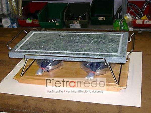 offerta piastra e lastra in pietra lavica ollare da cottura bbq con fiamma offerta costo telaio