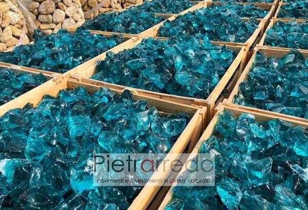 prezzo glass vetro rotto per giardini e decorazioni art design pietrarredo milano mare turchese ocean blue