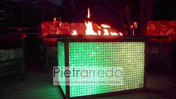 sauna e fuoco con pietra decorativa arredo giardino vetro turchese offerte prezzo costi pietrarredo