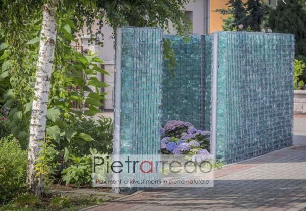 vetro turchese blu arredo giardino pietra gabbioni cinta divisori con vetro decorativo prezzo costi pietrarredo milano