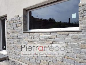 facciata e parete in piietra luserna posa e costo placche retrosegate tranciata blocchetti parete
