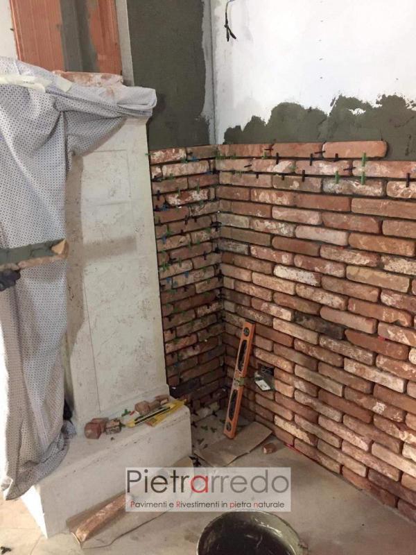 parete rivestita con mattoni a listelli in cotto vecchia cascina prezzo costi pietrarredo milano mattone da recupero poco spessore