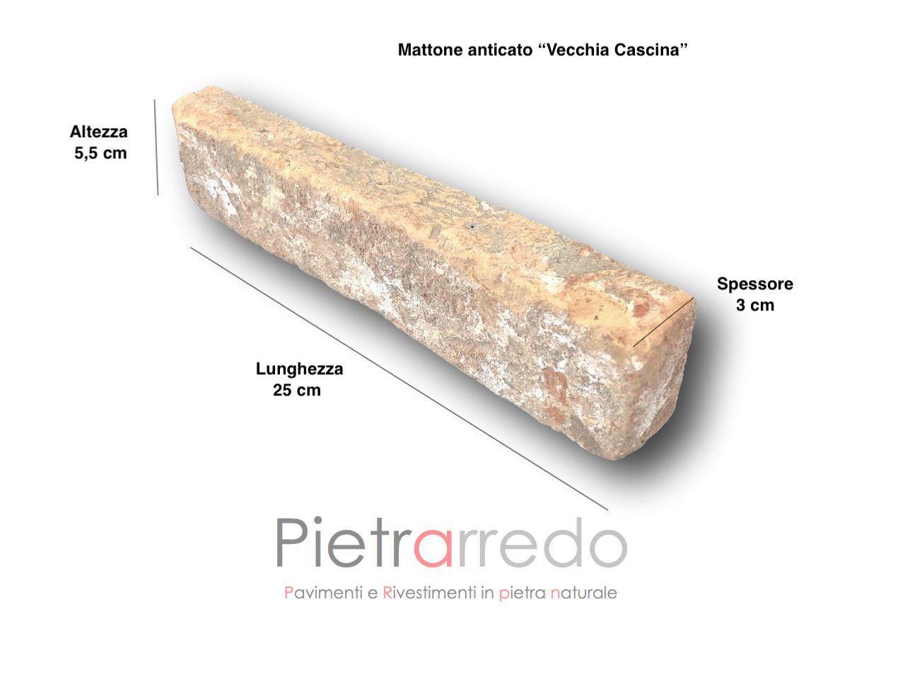 rivestimenti in mattoni rustici antichi con calce invecchiati naturale prezzo costi pietrarredo vecchia cascina rustico