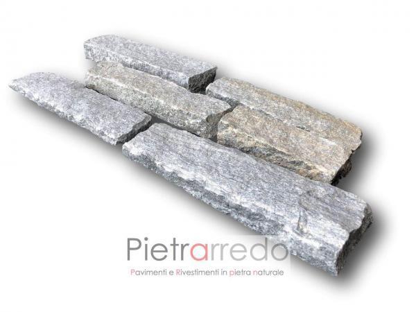 rivestimento in pietra vera naturale luserna blocchetti da muro tranciati grigio retro segato prezzo morina