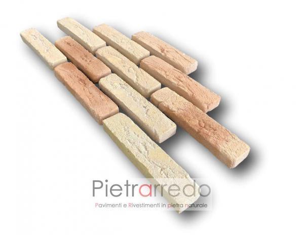 listelli mattone antico vecchio invecchiato da incollare per pareti e facciate decorative costi pietrarredo san marco duetto