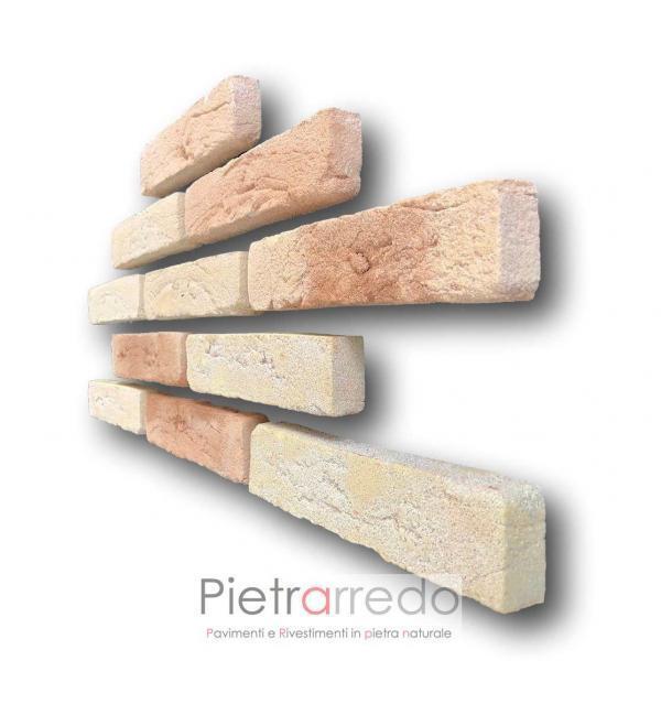 mattone anticato classico sabbiato colore beige cotto in fornace per facciate ventilate offerte e costi mq basso spessore