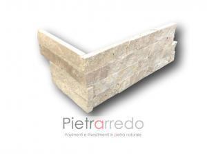 Angoli in pietra naturale travertino beige per rivestimento pilastri spigoli muri pietrarredo costi