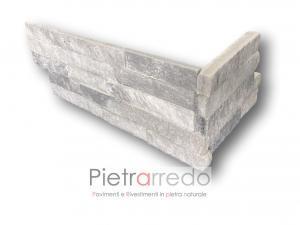 Rivestimento angoli spigoli quarzite ghiacio pareti prezzo costi cladding cloudy grey stone costo grigio glitterato