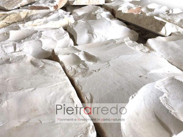 prezzo rivestimento in sasso pietra roccia a spacco chiara antipatrea bianca prezzo pietrarredo milano