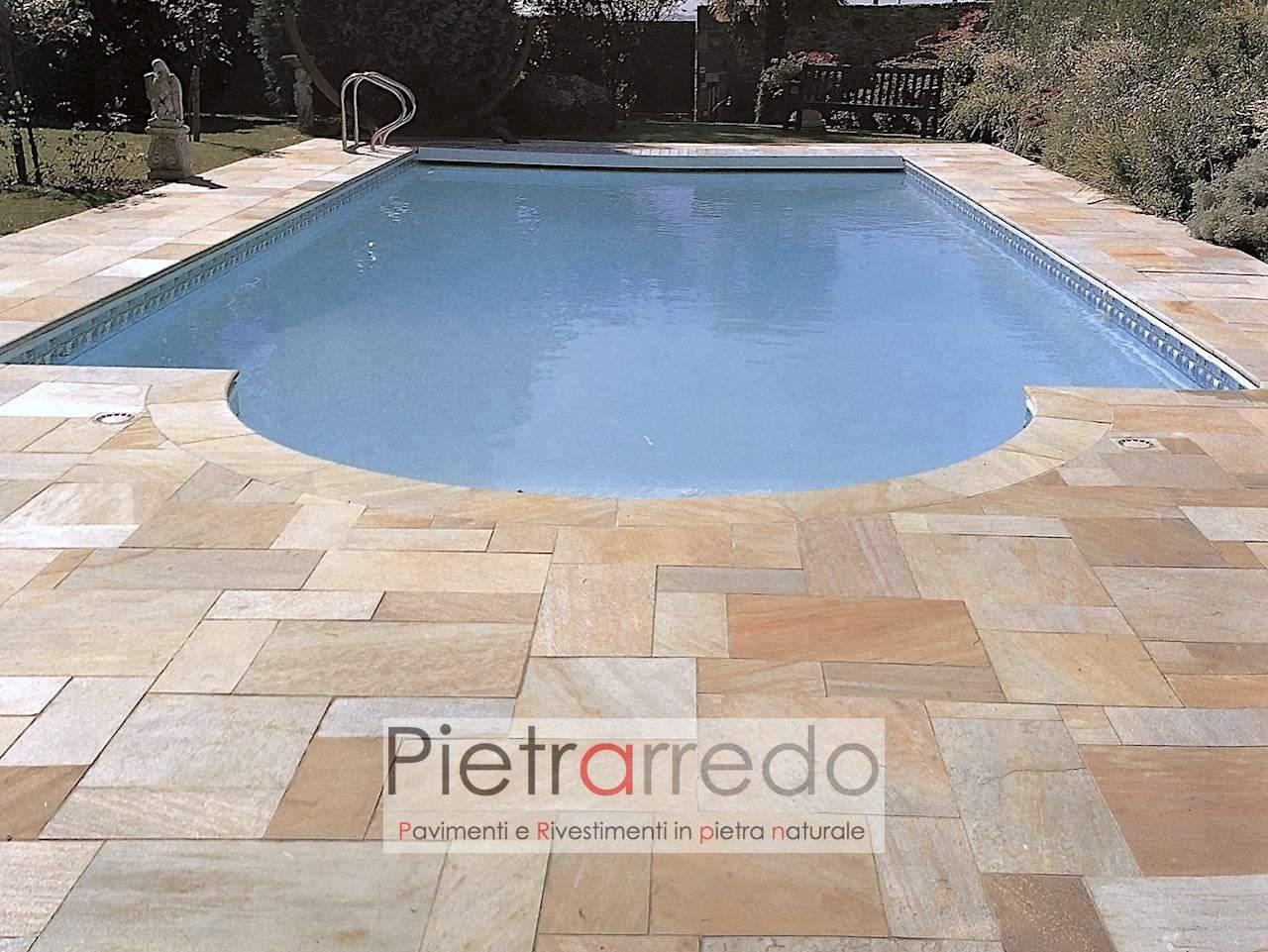 bellissima piscina con pavimento in quarzite brasiliana gontero prezzo costi offerte pietrarredo milano