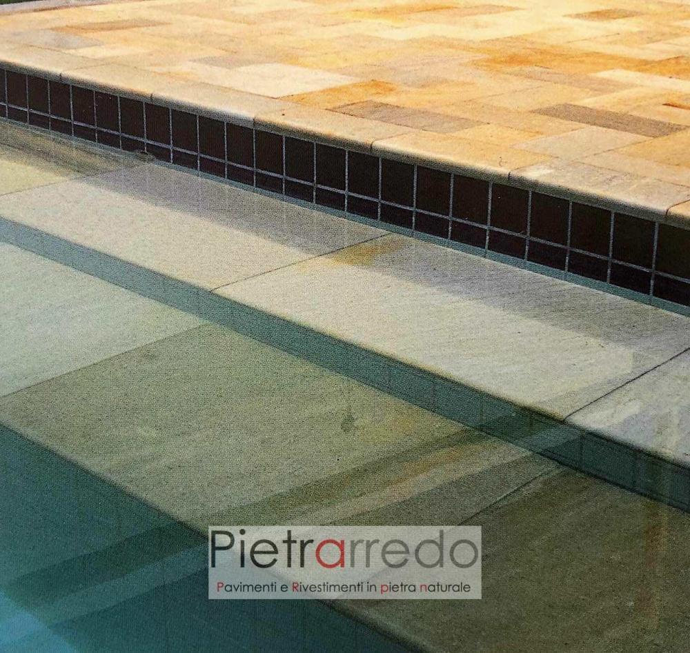 bordi piscina pietra quarzite gialla brasiliana giallo rosa prezzo costi pietrarredo milano