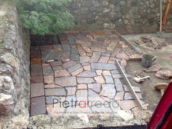 creazione pavimento porfido selciato lastre inregolari prezzo costo metro quadro pietrarredo milano
