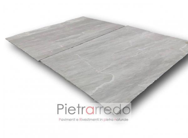 lastre giganti per pavimento esterno in pietra arenaria indiana grigia kandla grey sandstone prezzo pietrarredo milano