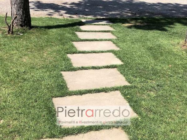 lastre in pietra arenaria grigia passaggi prato arredo giardino vialetto 60cm 90 cm antiscivolo prezzo pietrarredo milano