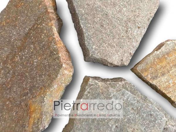 lastre in pietra di porfido per pavimentazione esterna prezzo costi metro quadro ruggine lastrame prezzo