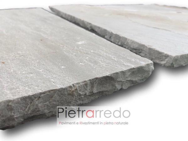 lastricato in pietra e sasso per coprtili scivoli marciapiedi grigio autumn grey india spessore calibrato 2,2 cm prezzo costi