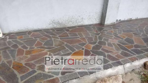 marciapiede vialetto esterno in porfido con bindero in pietra costo mq prezzo offerte pietrarredo milano