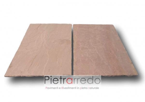 offerta pavimento pietra arenaria indiana rosa rossa modak prezzo costi ometro quadro bellissimo pietrarredo milano