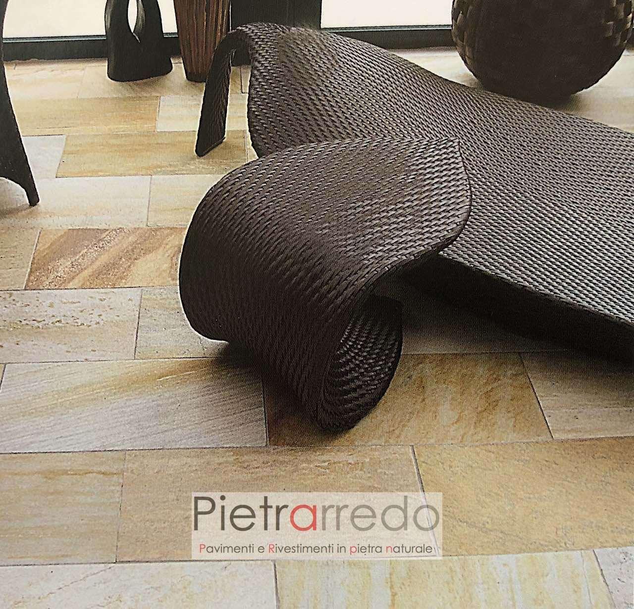 offerta pietra quarzite gialla brasiliana pavimentio eleganti per spa centro benessere terme prezzi pietrarredo milano
