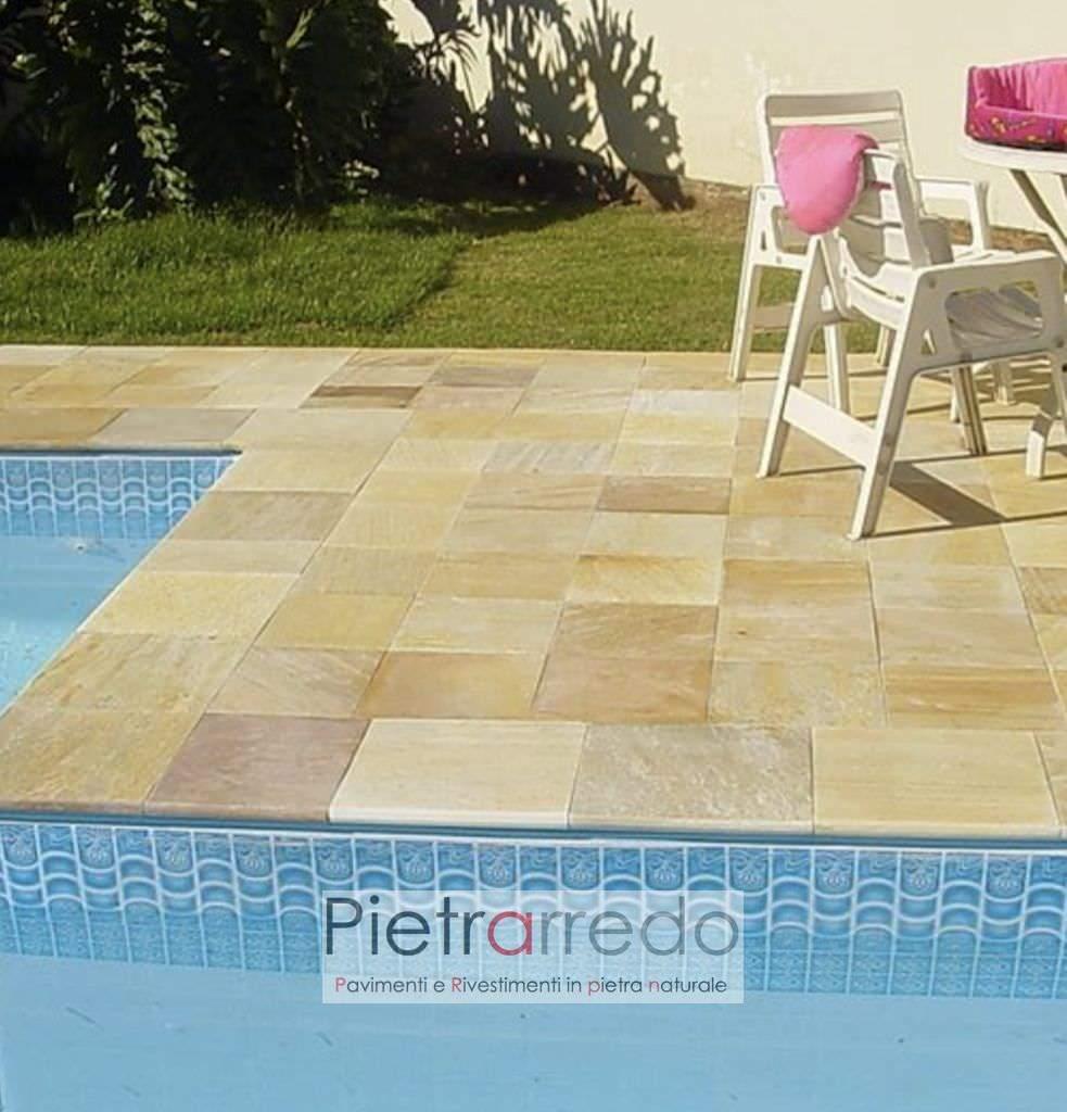 pavimento in pietra quarzite brasiliana gialla gontero barge piscine spa centro benessere pietrarredo milano